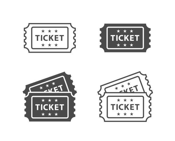 티켓 아이콘 세트 - 티켓 스텁 stock illustrations