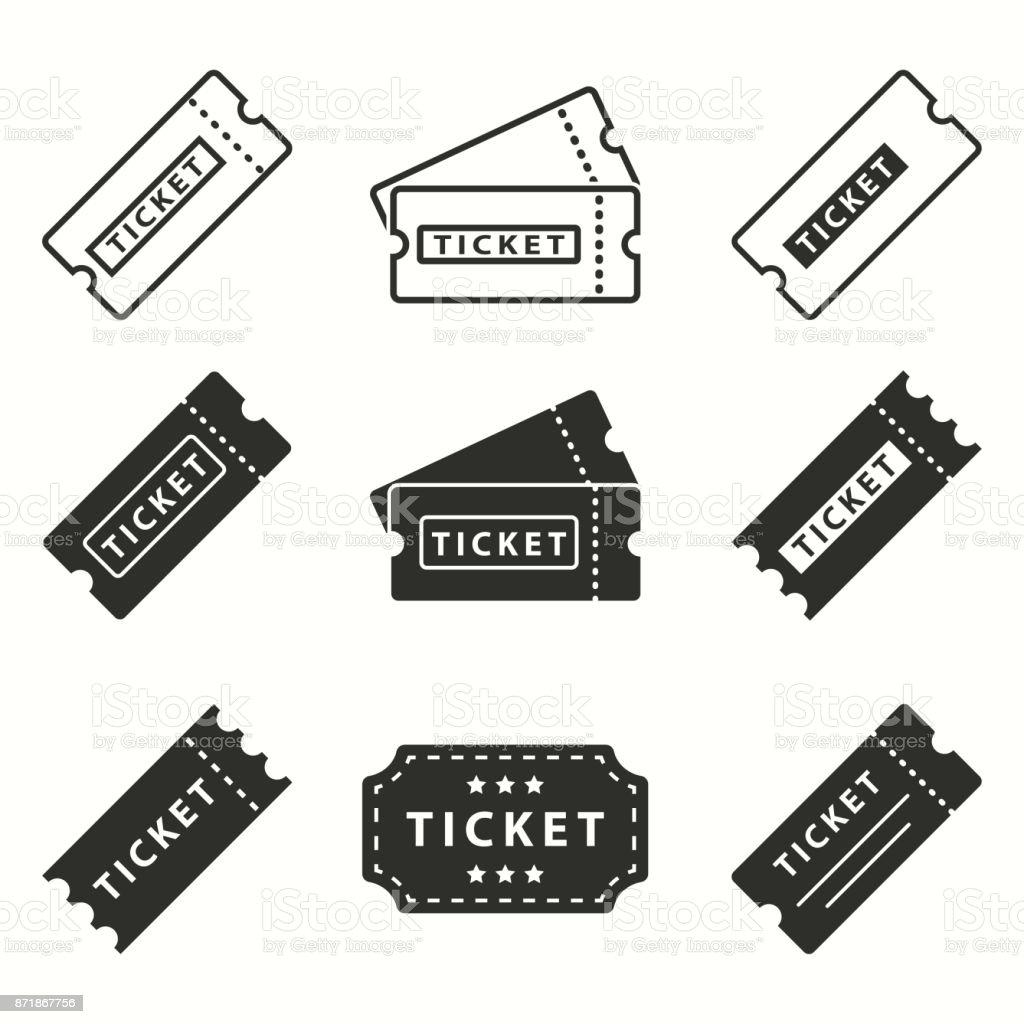 Conjunto de iconos con el boleto. - ilustración de arte vectorial