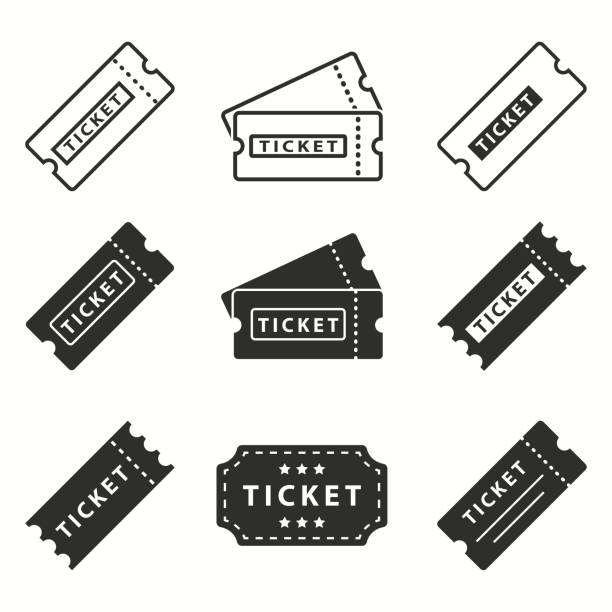 illustrations, cliparts, dessins animés et icônes de ticket de jeu d'icônes. - billet