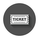 Ticket icon vector flat.