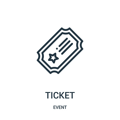 ticket icon vector from event collection. Thin line ticket outline icon vector illustration.