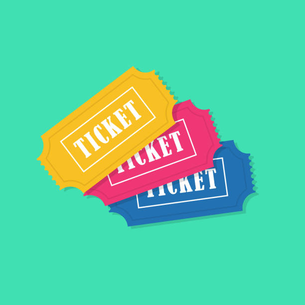 ticket icon vector illustration in the flat style. ticket stub isolated on a background. cinema, football, basketball, train, airplane or movie tickets. - airplane seat stock illustrations