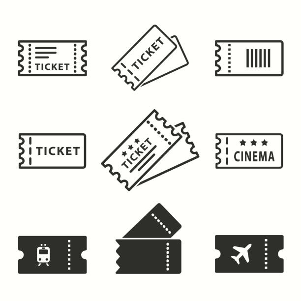 Ticket icons set. Ticket vector icons set. Black illustration isolated for graphic and web design. coupon stock illustrations