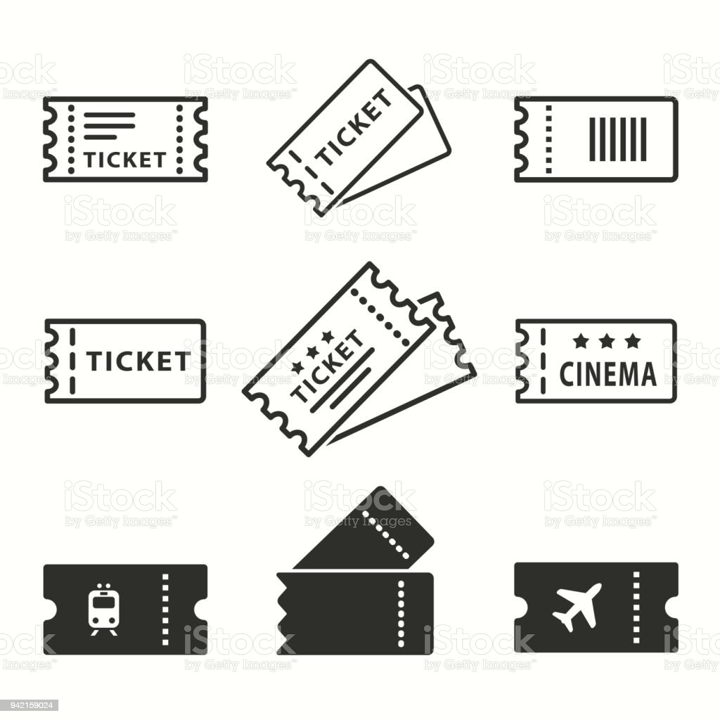 Ticket de jeu d'icônes. - Illustration vectorielle