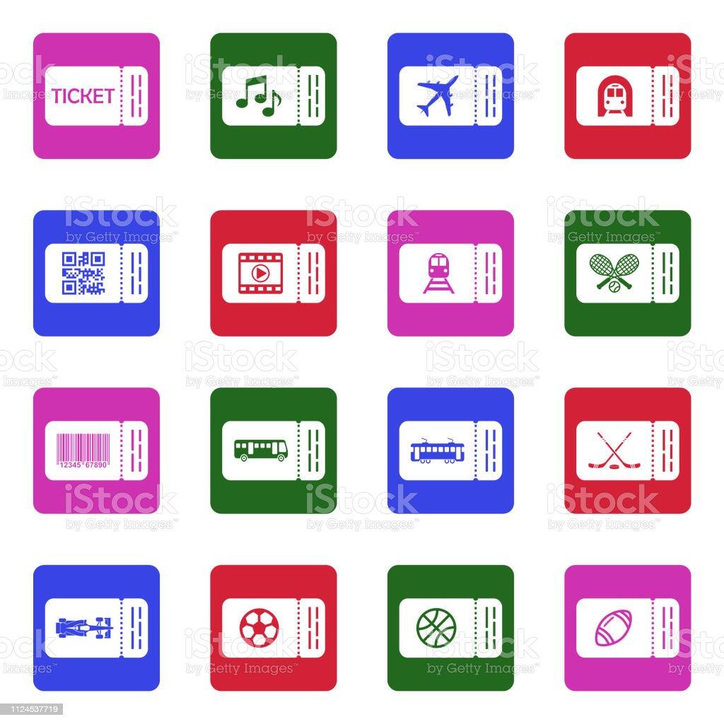 Ticket-Symbole. Weiße flache Design im Quadrat. Vektor-Illustration. – Vektorgrafik