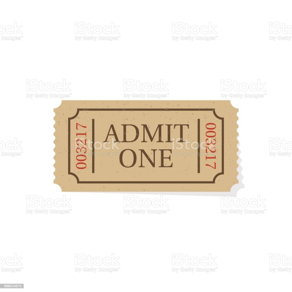 Ticket isolated on white background vector art illustration