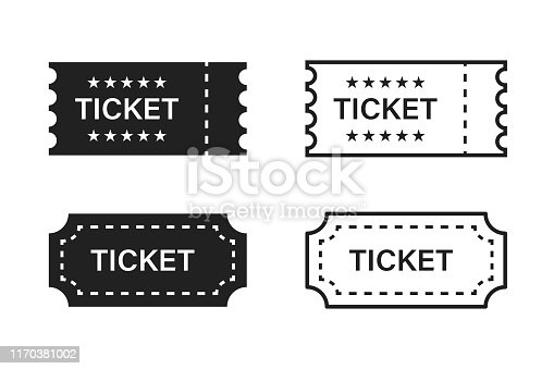 Ticket isolated vector icon. Movie or theatre vector coupon or sign. EPS 10