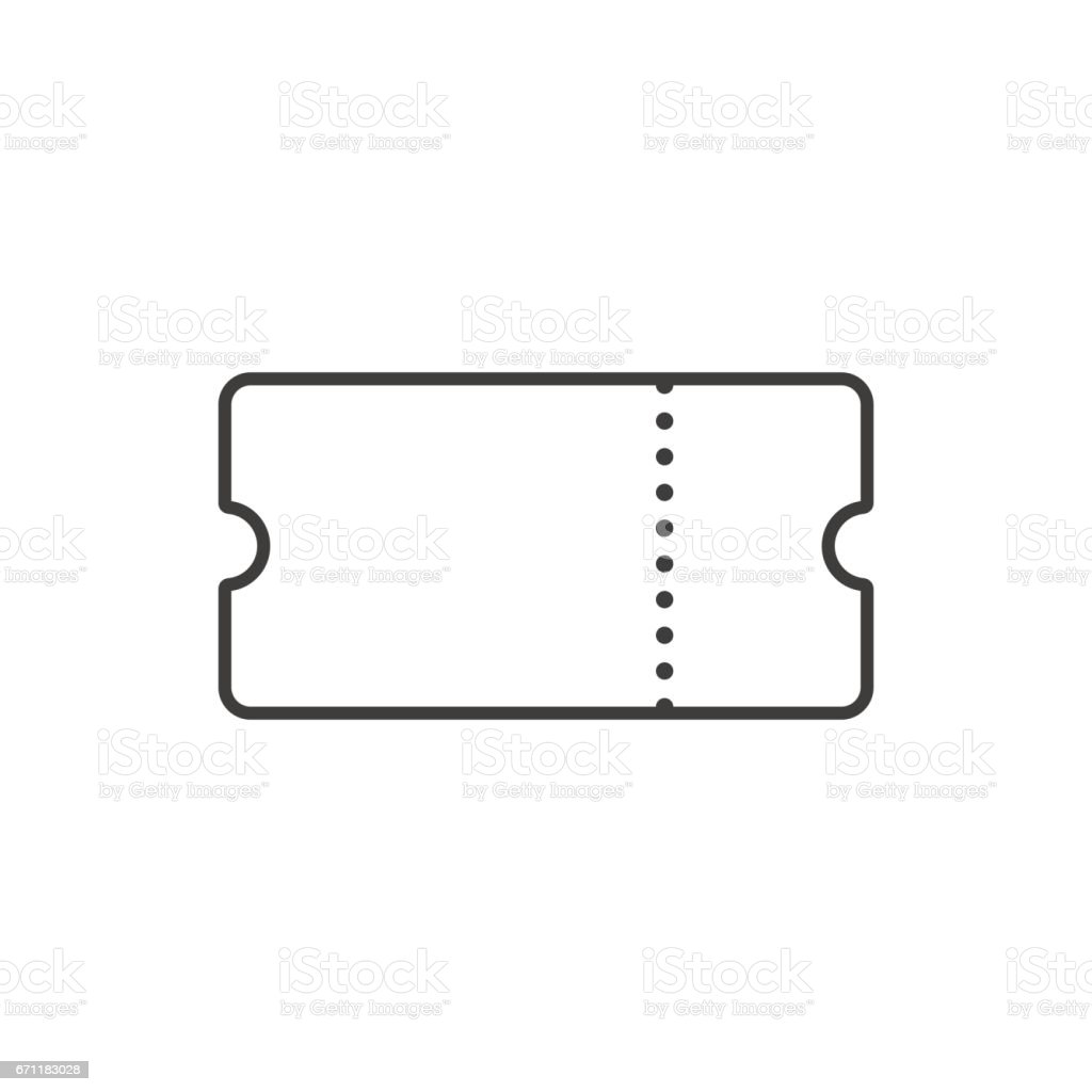 Dessin au trait billet. Icône de contour de billet. Vector - Illustration vectorielle