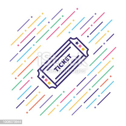 Line vector illustration of retro paper ticket.