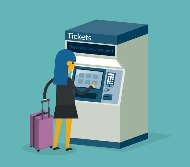 illustrazioni stock, clip art, cartoni animati e icone di tendenza di ticket machine user - businesswoman - biglietteria automatica
