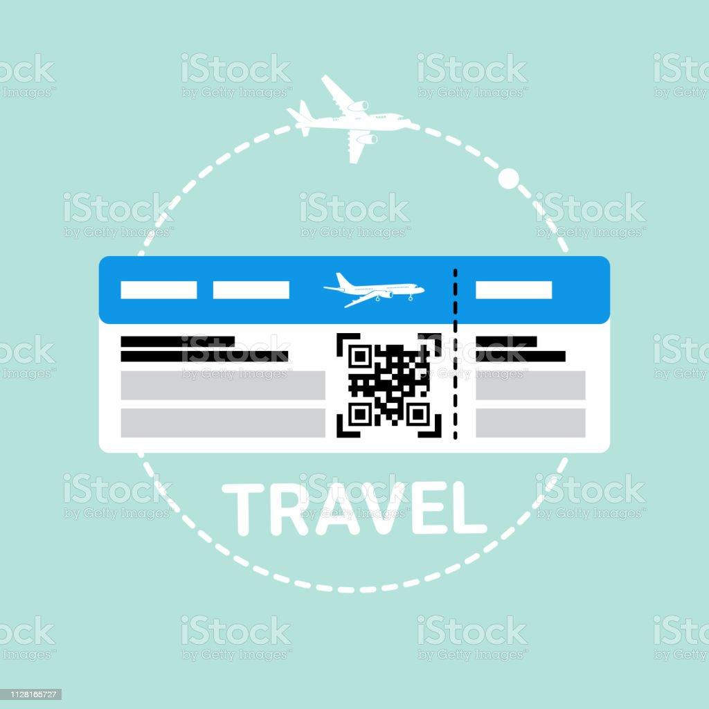 Entradas en el documento de embarque de avión icono viaje - ilustración de arte vectorial