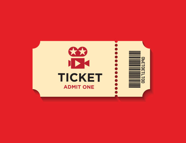 Ticket On Red Background Retro styled ticket set on red background. Ticket is beige in color and casting soft shadows on the background. Vector illustration. admit one stock illustrations