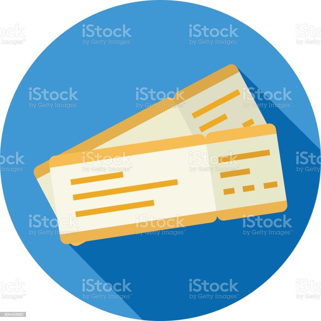 Boleto o pase de abordar para icono de estilo de diseño plano de vuelo ilustración de boleto o pase de abordar para icono de estilo de diseño plano de vuelo y más vectores libres de derechos de actuación - conceptos libre de derechos