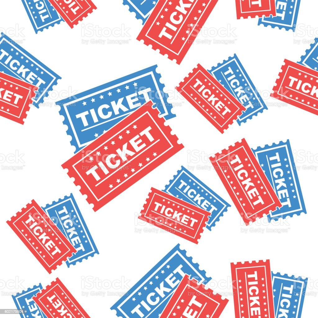 Ticket seamless pattern background icon. Flat vector illustration. Ticket sign symbol pattern. vector art illustration
