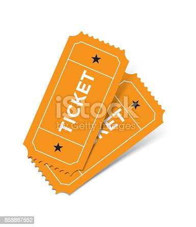 Retro styled ticket set on white background. Tickets are orange in color and casting soft shadows on the background. Vector illustration.