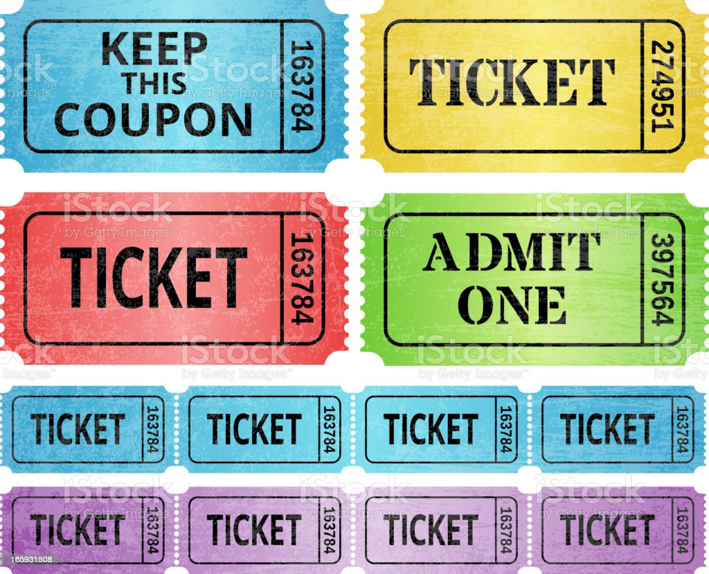 ticket stub and raffle tickets royalty free vector graphic stock