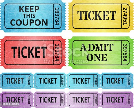Ticket Stub and raffle tickets royalty free vector graphic. This vector illustration features multiple variations of event entrance ticket, raffle ticket and admit one ticket. The designs are blue, red, yellow, green and purple on white background. The ticket copy is black.