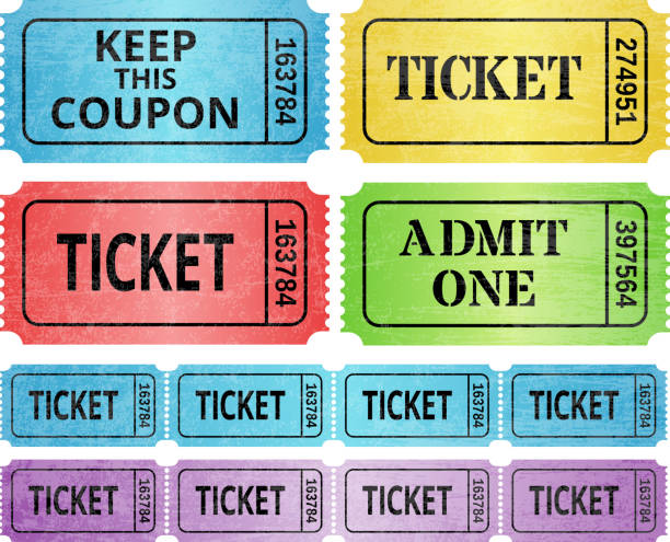 Ticket Stub and raffle tickets royalty free vector graphic Ticket Stub and raffle tickets royalty free vector graphic. This vector illustration features multiple variations of event entrance ticket, raffle ticket and admit one ticket. The designs are blue, red, yellow, green and purple on white background. The ticket copy is black. admit one stock illustrations