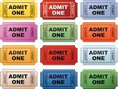 A large assortment of ticket stubs