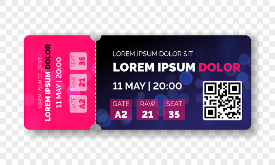 Ticket template modern trendy design. Vector admit ticket with event date and raw seat for cinema movie, live music concert or festival and football soccer and sport championship or club with QR code