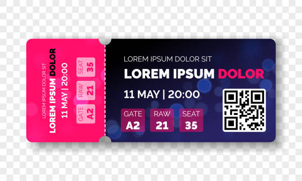 ticket template modern trendy design. vector admit ticket with event date and raw seat for cinema movie, live music concert or festival and football soccer and sport championship or club with qr code - tickets and vouchers templates stock illustrations