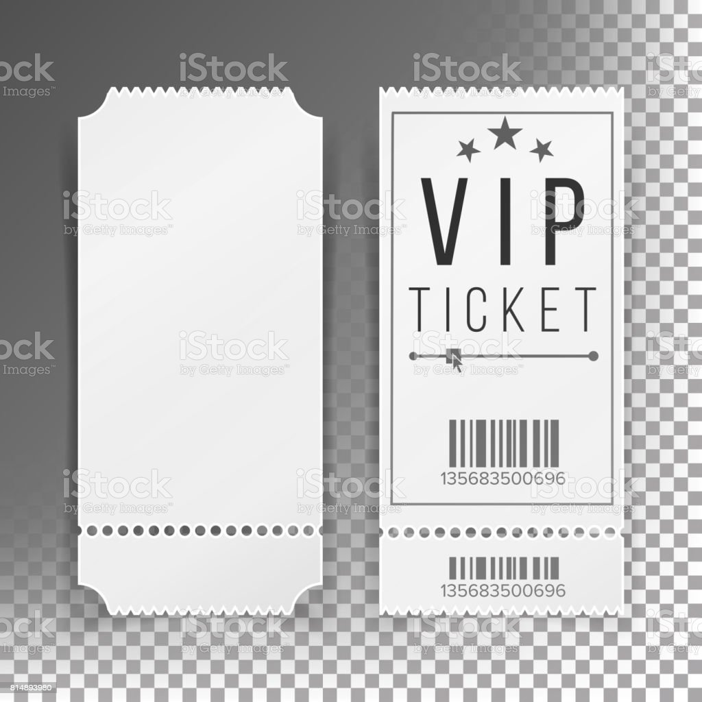 Ticket Template Set Vector. Blank Theater, Cinema, Train, Football Tickets Coupons. Isolated On Transparent Background vector art illustration
