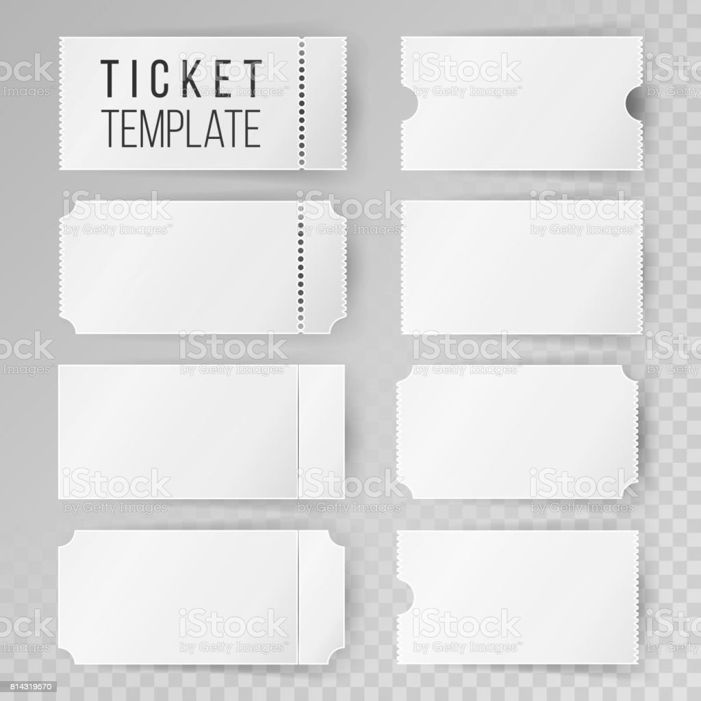 Ticket Template Set Vector. Modern Mock Up Wedding, Cinema, Birthday Or Circus Tickets Template. Transparent Background vector art illustration
