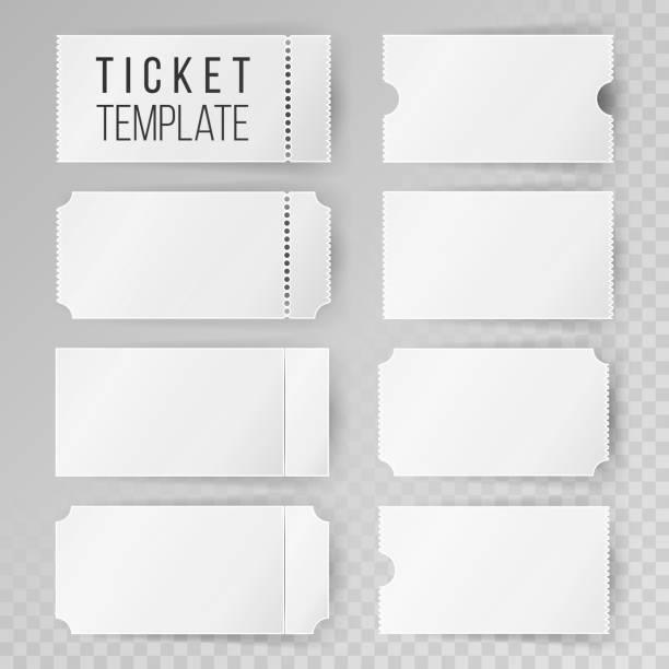 표 서식 설정된 벡터입니다. 결혼식, 영화관, 생일 또는 서커스 티켓 템플릿을 현대 조롱. 투명 한 배경 - 티켓 스텁 stock illustrations