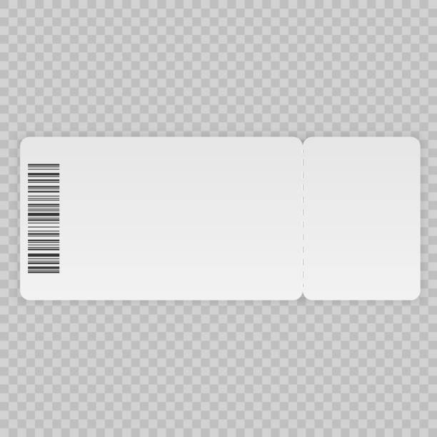 Ticket template Ticket template isolated on a transparent background airplane ticket stock illustrations
