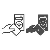 istock Ticket terminal for wireless payments line and solid icon, transport concept, Terminal and passenger transport card sign on white background, Transport payment gate icon in outline. Vector graphics. 1257321239