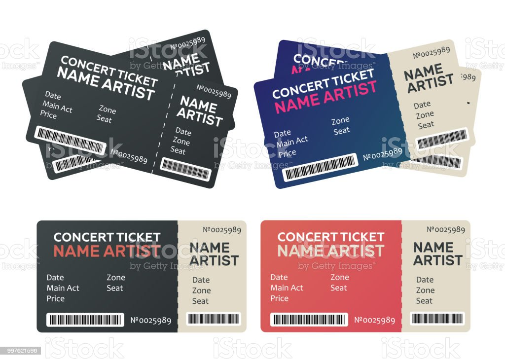 ticket theater music dance live concert tickets templates stock