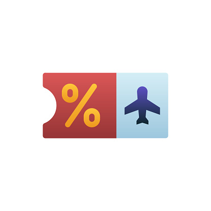 Ticket Vector Flat Gradient Icon Style illustration. EPS 10 File