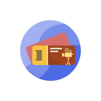 Ticket Vector Icon Flat Round Style   Illustration