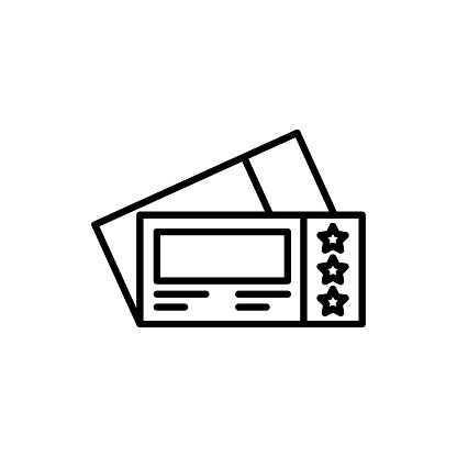 Ticket Vector Icon Line Style Illustration.