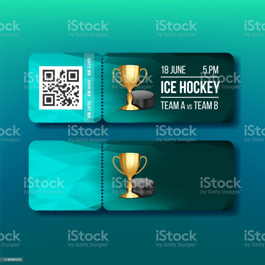 Ticket With Tear-off Coupon On Hockey Sport Vector. Modern Turquoise...