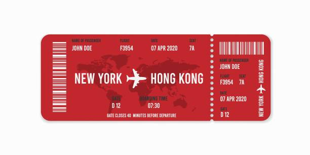 ticket_new Realistic airline ticket design with passenger name. Vector illustration airplane ticket stock illustrations