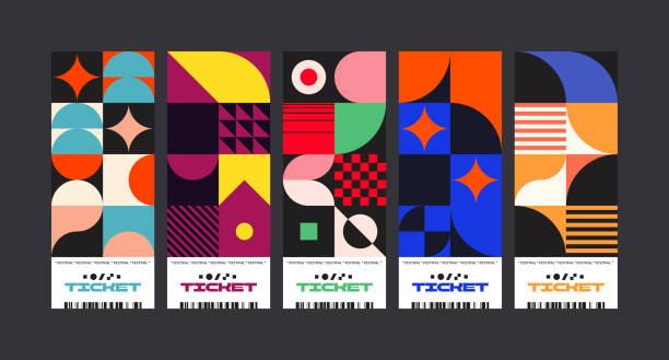 bildbanksillustrationer, clip art samt tecknat material och ikoner med biljetter abstrakt vektor designmall set - konststilar