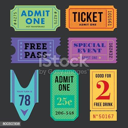Set of vector Tickets. Illustration