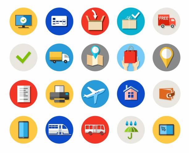 ilustrações, clipart, desenhos animados e ícones de ingressos e compras on-line, entrega, pagamento, ícones de cor. - fontes e tipografia