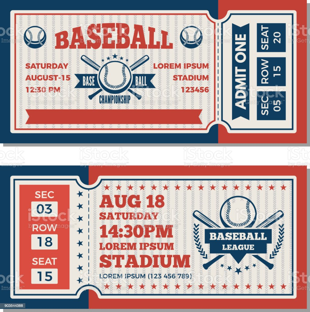 Tickets design template at baseball tournament vector art illustration