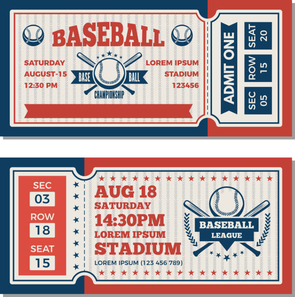 tickets design template at baseball tournament - tickets and vouchers templates stock illustrations