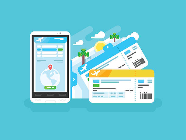 tickets for the plane on a smartphone - airplane ticket stock illustrations