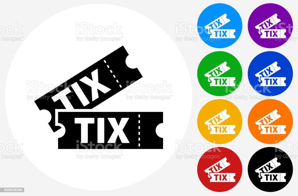 Tickets Icon on Flat Color Circle Buttons vector art illustration