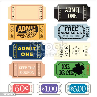 Tickets. Numbered