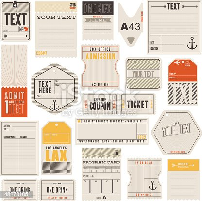 A set of tickets, tags and more. Including library card, luggage tag, clothing labels, box office and drink tickets. Some vintage and others modern look and feel.