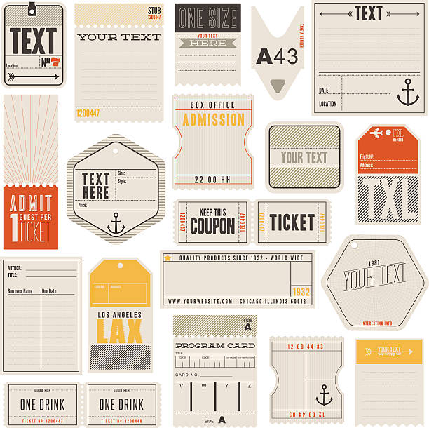 Tickets Tags and More A set of tickets, tags and more. Including library card, luggage tag, clothing labels, box office and drink tickets. Some vintage and others modern look and feel.  movie ticket stock illustrations
