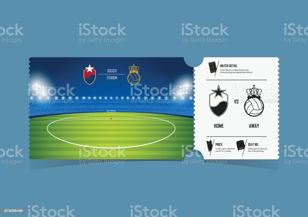 tickets template design for football or soccer match gift vouchers