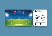 Tickets template design for football or soccer match. Gift vouchers or certificate coupons. Vector.
