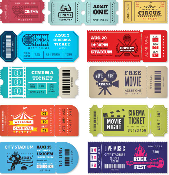 Tickets template. Events entrance tickets in cinema theater circus show concert admission vector design Tickets template. Events entrance tickets in cinema theater circus show concert admission vector design. Entrance cinema or theater, concert entertainment illustration tickets and vouchers templates stock illustrations
