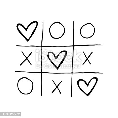 Tic-tac-toe game with hearts vector doodle illustration. Love. St. Valentine's Day. Sticker, icon.